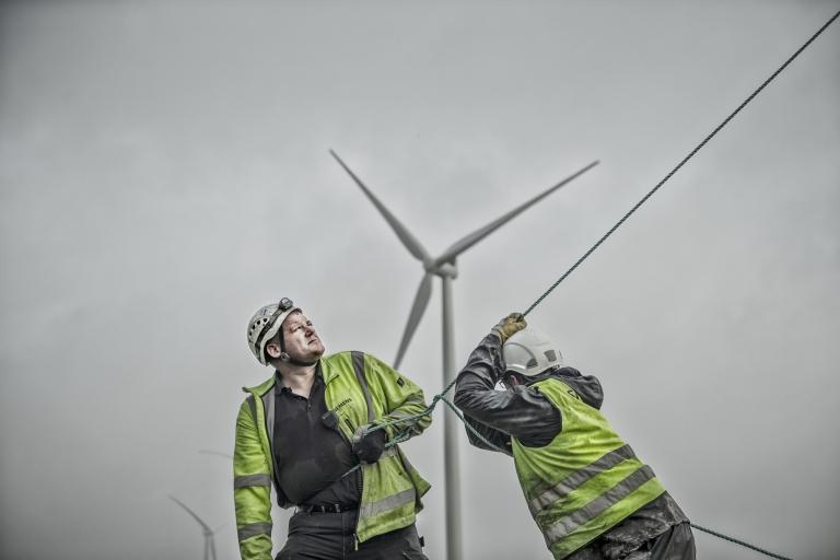 Opsætning af vindmølle